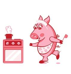 piggy cook vector image