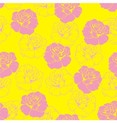 Seamless floral pattern background with pink roses vector image