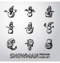 Set of freehand Snowman icons with different vector image vector image