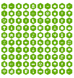 100 health food icons hexagon green vector