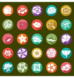 25 modern flowers icons - sets vector