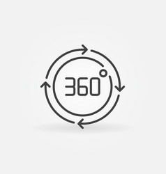 360 degrees circle with arrows linear icon vector