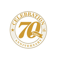 70 th golden anniversary vector