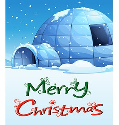 A christmas template with an igloo vector