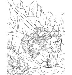 Adult coloring bookpage a landscape with sleeping vector
