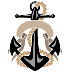 Anchor with Rope and Banner vector