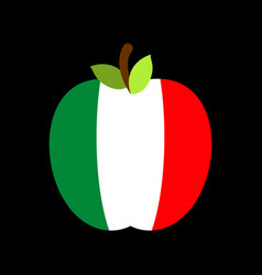apple italy flag italian national fruit vector image