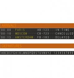 Arrivals departures vector