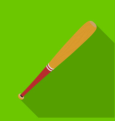 Baseball bat baseball single icon in flat style vector