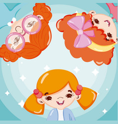 beautiful girls cartoons vector image