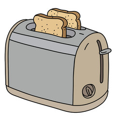 Beige and steel electric toaster vector