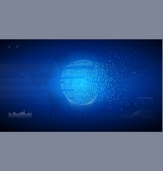 binary globe sphere connection information data vector image
