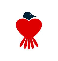 bird love logo icon concept vector image
