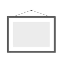 black blank frame on white background wall vector image