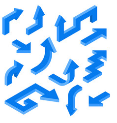 Blue arrows isometric set of 3d icons vector