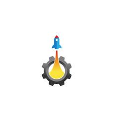 blue rocket gear logo vector image