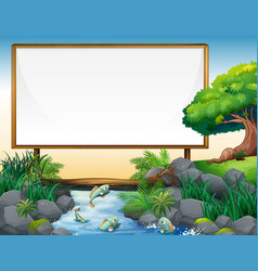 board template with river in background vector image