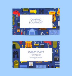 business card template for camping vector image
