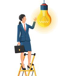 businesswoman with biefcase creates new idea vector image