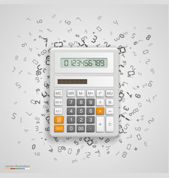 Calculator with icons on background vector