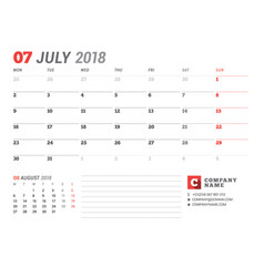 calendar template for july 2017 business planner vector image