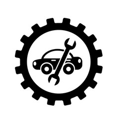 Car with wrench mechanic tool icon vector