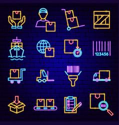 cargo logistics neon icons vector image