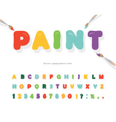cartoon paint font for kids design bright vector image