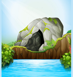 Cave in nature vector