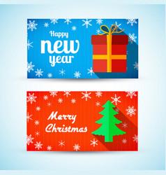 christmas and new year horizontal banners vector image