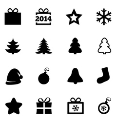 Christmas black flat icons New Year 2014 icons vector