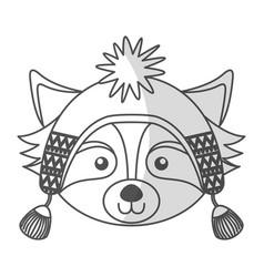 christmas raccoon face cartoon vector image