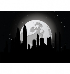 Cityscape with moon vector
