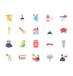 cleaning colored icons 2 vector image