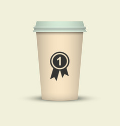 Coffee cup with medal first class sort coffee vector