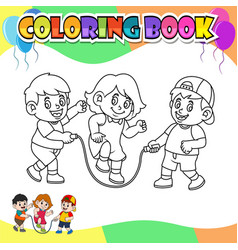 coloring book kids playing rope vector image