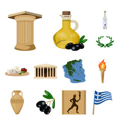 Country greece cartoon icons in set collection for vector