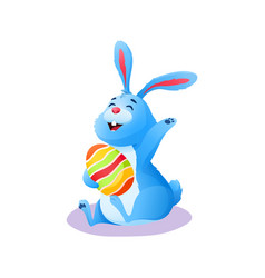 cute happy cartoon easter rabbit with painted egg vector image