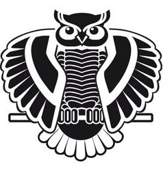 design for logo black and white owl sitting vector image