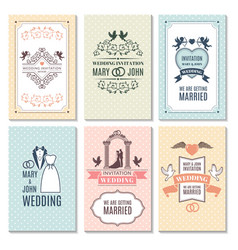 Design template of wedding invitation cards vector