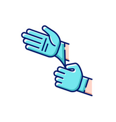 Disposable sterile gloves rgb color icon vector