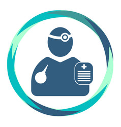 Doctor icon with reflector enema and clipboard vector