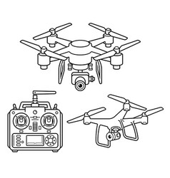 Drone silhouette icons set vector