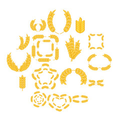 Ear corn icons set cartoon style vector
