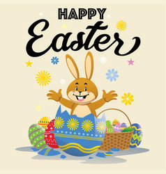 easter bunny popping out of the cracking easter vector image