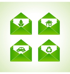ecology symbols with envelope vector image