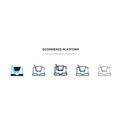 Ecommerce platform icon in different style two vector