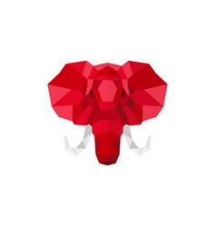 Elephant head logo geometric lowpoly vector