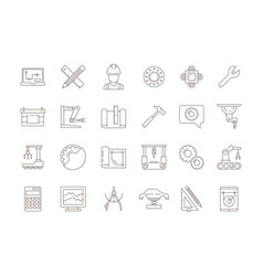 Engineering symbols manufacturing civil chip vector
