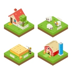 Farm Life isometric 3d Icon Real Estate Symbol vector